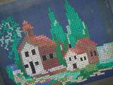 Ручная вышивка крестиком на ткани СССР 60х